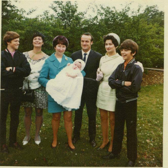 marie's christening at the st georges church,Ray Batchelor, Bette Reid,  , Mum Frances Batchelor , Marie Batchelor, Dad Pat Batchelor, Doreen Marchant, Me Chris Batchelor
