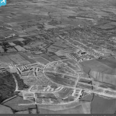Bedwell Crescent under construction and the town, Stevenage, 1952