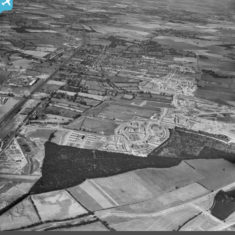 The town and surrounding housing development, Stevenage, from the south-east, 1952