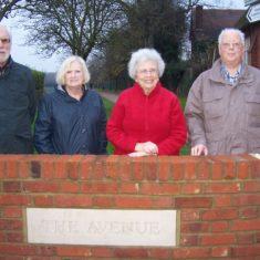 Stevenage Society for Local History members John Amess, Iris Tomlin, Pauline Maryan and Colin Killick at the new wall & plaque | Pauline Maryan