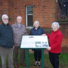 Stevenage Society for Local History members John, Colin, Iris & Pauline with the new information panel | Pauline Maryan