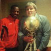 Clive Abrey and John Nurse with the FA Challenge Trophy