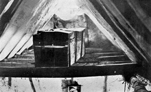 Henry Trigg's Coffin in the rafters of the barn behind the former Old Castle Inn | Stevenage Museum