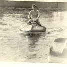 My wife, Betty Bland, on the waterscooter, Hertford, 1956 | John Bland