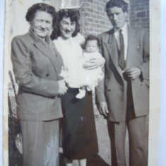 Baptism day with Godparents, Rose Mundy, Marie Parnell & John Parnell | Mum