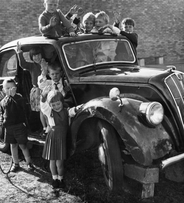 Lodge Farm Primary School Children with their new play car in 1964 | Stevenage Museum P10072