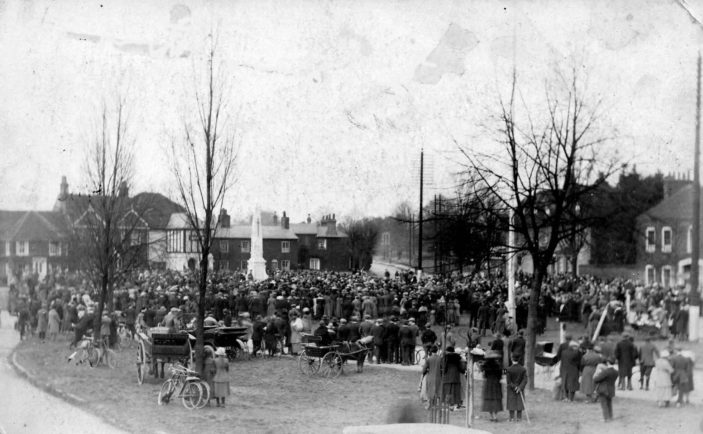 The unveiling of the War Memorial in March 1921 | Stevenage Museum P280