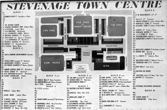 Layout plan of Stevenage Town Centre in 1958 | Stevenage Museum. P6555