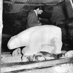 Mark Harvey at work on Polar Bear in 1963 | Stevenage Museum P6921