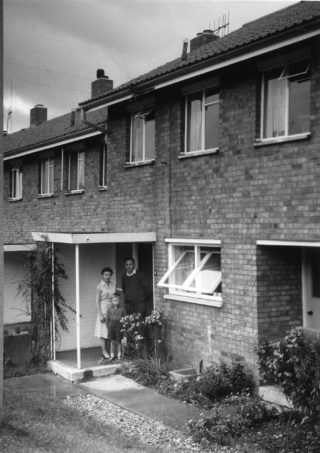 Mr & Mrs Sulzbach with their son Robert outside their home in Broadview   Stevenage Museum P7561