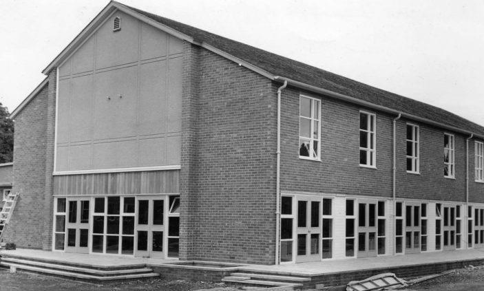 Alleyne's School main hall under construction 1956 | Stevenage Museum PP1333
