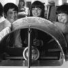 Bedwell School pupils with a hovercraft