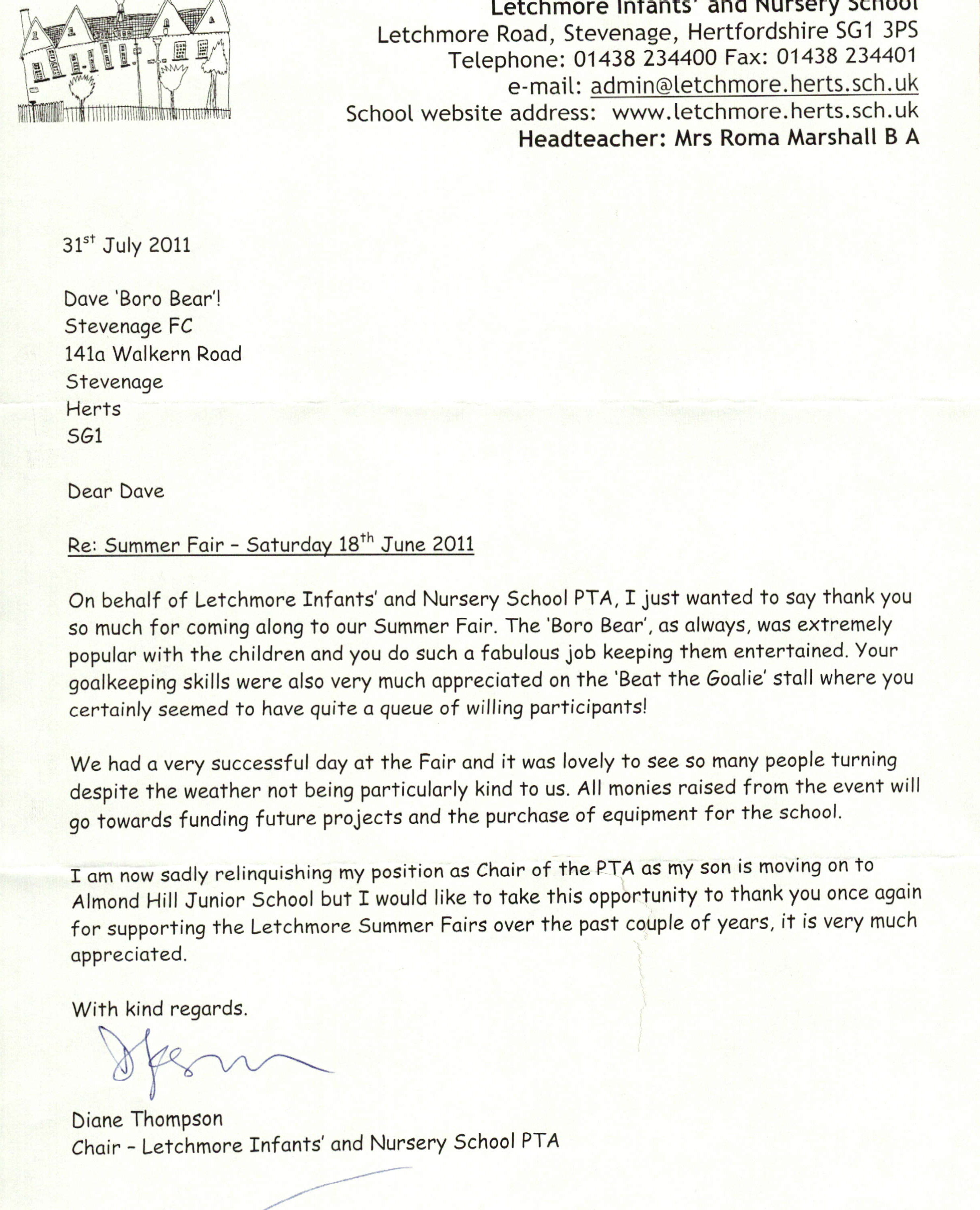 A Thank You Letter to the Boro Bear | Stevenage Football Club | Our