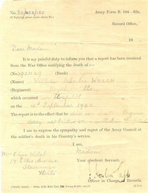 The official notification of death, 13 September 1942 | Owen Welch