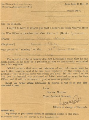 The notification that my father had been reported as missing, 29 June 1942 | Owen Welch