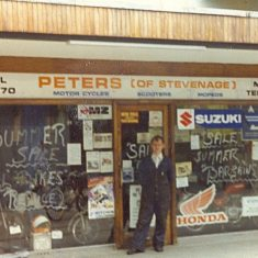 Fred Norman outside the shop 1985