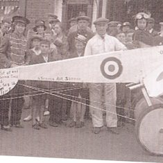 A monoplane built  by Mr Sapsed in the garage of his Haycroft Road home.This picture was taken in 1934.